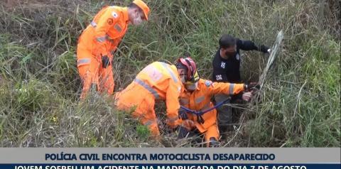 Jovem motociclista é encontrado pela Polícia Civil após sofrer acidente