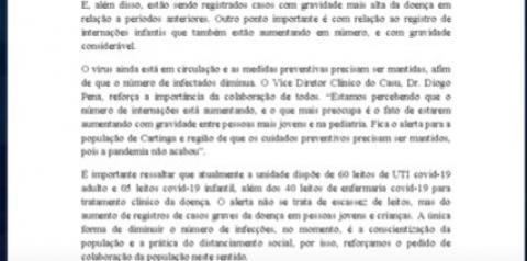 Em nota, Casu afirma que é preciso conscientização da população para diminuir número de infectados