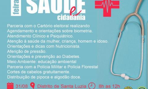 Feira de Saúde e cidadania será realizada em Santa Luzia