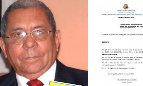 Prefeitura de Caratinga nomeia novo Chefe de Gabinete