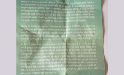 Copasa anuncia aumento de 50% sobre a taxa de esgoto em Caratinga