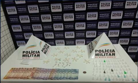 PM apreende pedras de crack e dezenas de microtubos de cocaína no Bairro Esplanada em Caratinga