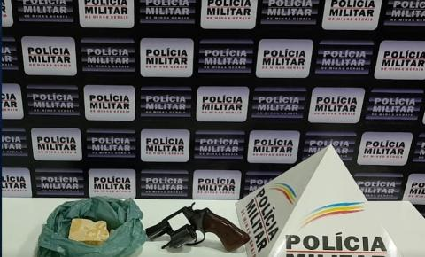 Após denúncia, polícia militar apreende barra de crack e revólver no bairro Anápolis em Caratinga