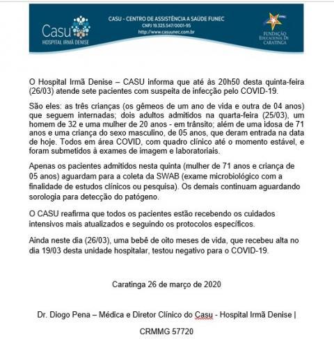 Idosa de 71 anos é internada no Casu com suspeita de Coronavírus